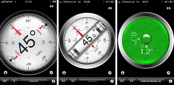 Clinometer iPhone App Screenshots