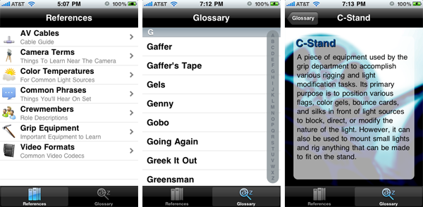 Gobo Filmmakers Dictionary iPhone App Screenshots